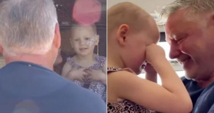 Little Girl With Rare Cancer Cries Tears Of Joy As She Reunites With Her Father After 7 Weeks Apart!